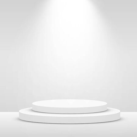 Stage Podium Scene for Award Ceremony illuminated with spotlight. Award ceremony concept. Stage backdrop. Vector illustration Stockfoto - 133422145