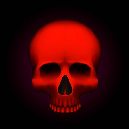 Human skull isolated on black, color red object. Vector illustration
