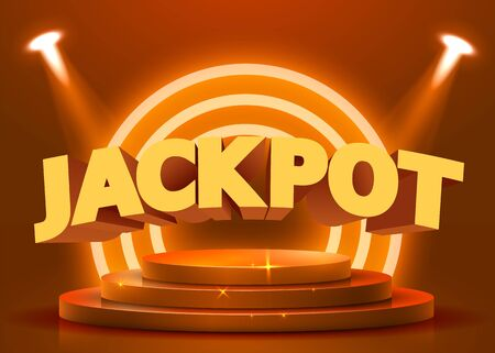 Abstract round podium illuminated with spotlight. Casino jackpot concept. Stage backdrop. Vector illustration Stockfoto - 133422159