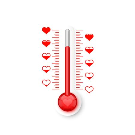 The thermometer of the love scale with the symbols of the heart. Vector illustration Ilustração