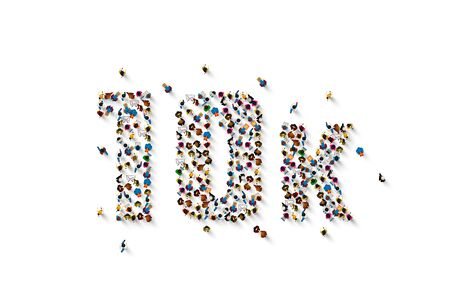 people letter 10k sign, white background. Vector illustration