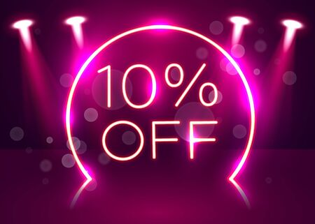 Sale glowing neon sign. Light vector background for your advertise, discounts and business. Vector illustration Stockfoto - 133422269
