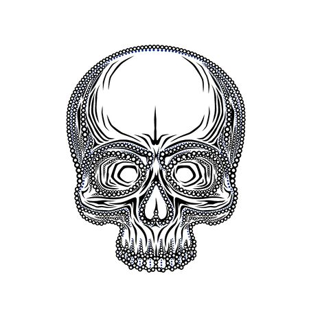 Human skull isolated on black, color object. Vector illustration Reklamní fotografie - 133422741