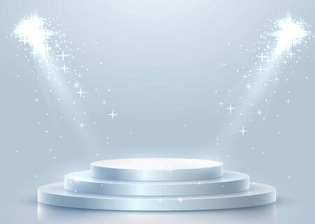 Abstract round podium illuminated with spotlight. Award ceremony concept. Stage backdrop. Vector illustration Stockfoto - 133422844