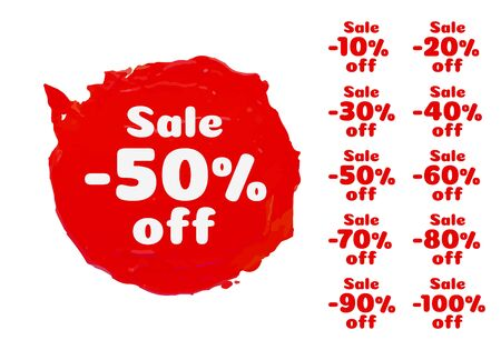 Paint red banner, collection off with share discount percentage. Vector illustration