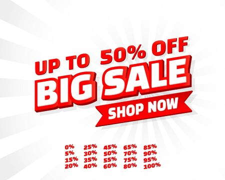 Big sale off shop new banner set collection, color red. Vector illustration Stockfoto - 133423211