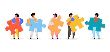 Group of people holding jigsaw puzzle. Vector illustration Illusztráció