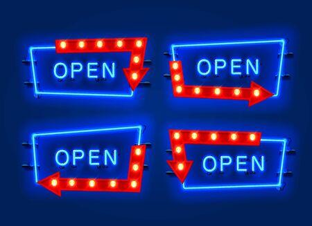 Neon open frame arrow set collection. template design element. Vector illustration Ilustração
