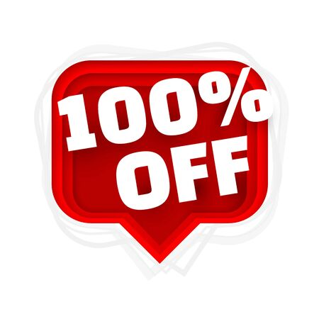 Banner 100 off with share discount percentage. Vector illustration Stock Illustratie