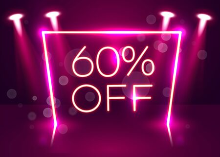 Sale glowing neon sign. Light vector background for your advertise, discounts and business. Vector illustration Stockfoto - 133423558