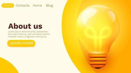 Business brainstorming Idea or startup concept with big yellow light bulb lamp. Creative innovation solution. template for web landing page, banner, presentation, social media. Vector illustration