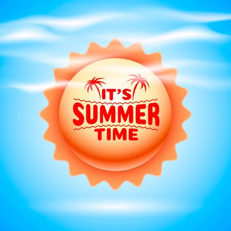 Summer time, holiday cover banner design, elements in sky background. Vector illustration Stockfoto - 133423688