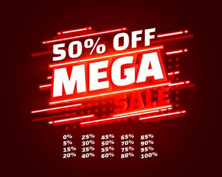 Mega sale off banner set collection neon, color red. Vector illustration Stockfoto - 133423909