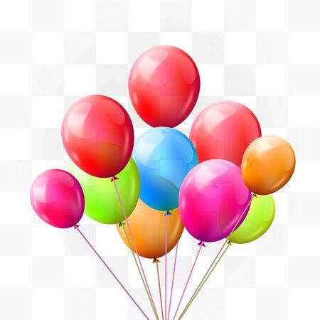 Brunch di palloncini su sfondo trasparente. Saluto, concetto di buon compleanno. Illustrazione vettoriale Vettoriali