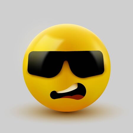 Face with sunglasses emoji - emoticon with dark sunglasses. Like a boss. Vector illustration