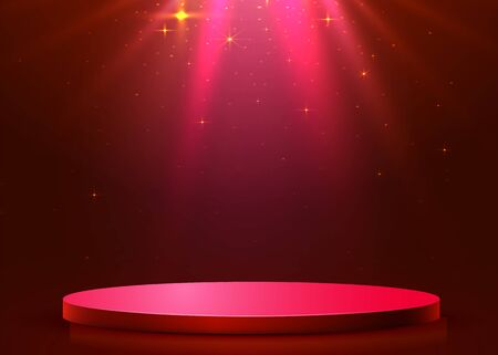 Abstract round podium illuminated with spotlight. Award ceremony concept. Stage backdrop. Vector illustration Stockfoto - 133424203