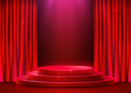 Abstract round podium illuminated with spotlight and curtain. Award ceremony concept. Stage backdrop. Vector illustration