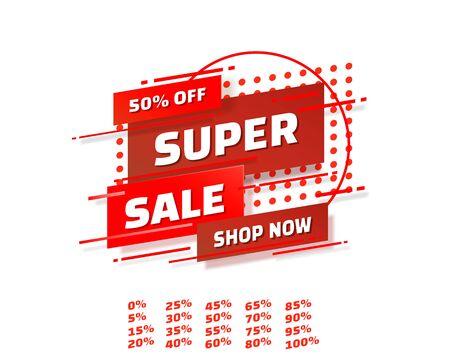 Super sale off shop new banner set collection, color red. Vector illustration Stockfoto - 133424236