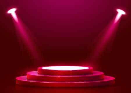 Abstract round podium illuminated with spotlight and neon. Award ceremony concept. Stage backdrop. Vector illustration Stockfoto - 133424534