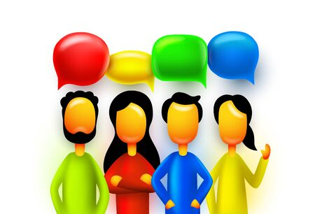People teamwork group, business infographics sign chat mas. Vector illustration Archivio Fotografico - 133424621