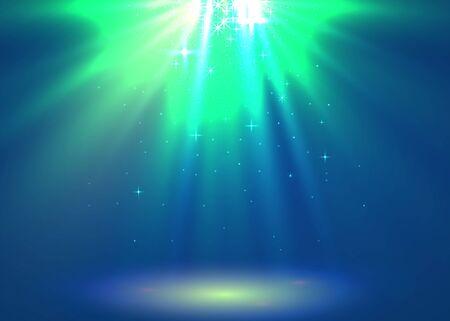Abstract magic light background. Blue holiday burst. Vector illustration Foto de archivo - 133424622