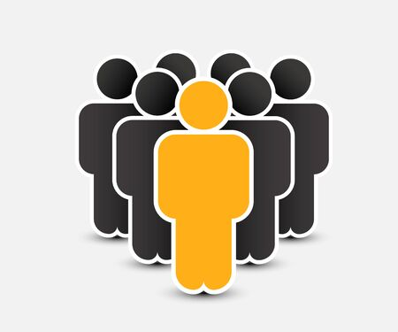 People icon in trendy flat style. Persons symbol for your infographics website design, logo. Crowd signs. Team or user group concept. Isolated on white background. Vector illustration. Archivio Fotografico - 133424624