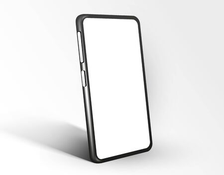 Realistic smartphone mockup. Cellphone frame with blank display isolated template. Mobile device concept. Vector illustration
