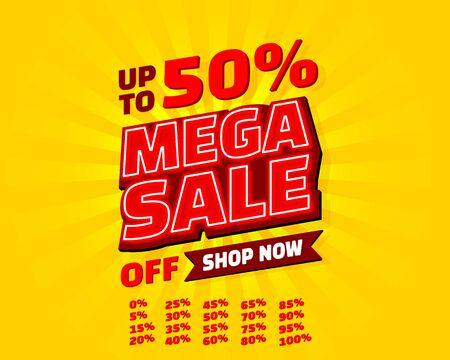 Mega sale off banner set collection neon, color red. Vector illustration Stockfoto - 133424764
