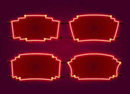 Neon frame set collection. template design element. Vector illustration Ilustração