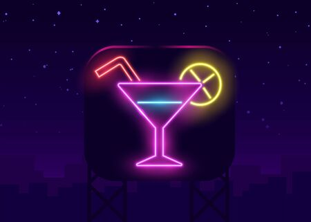Neon cocktails bar sign on dark brick wall background. Glowing gas advertising with glasses of alcohol shake. Drinking canteen banner. Night club invitation. Vector illustration.