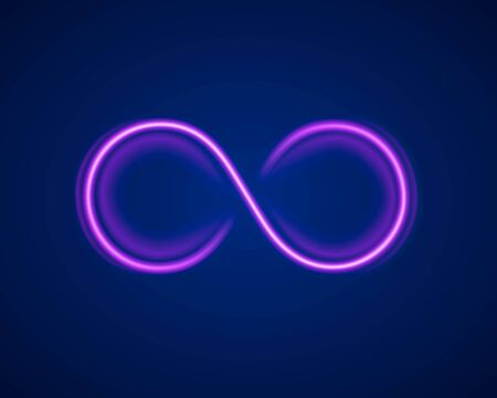 Infinity neon symbol on the purple background. Vector illustration