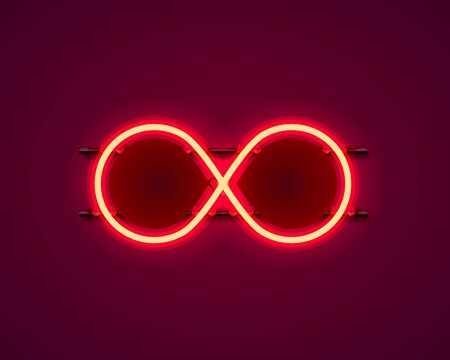 Infinity neon symbol on the red background. Vector illustration Stockfoto - 133425042