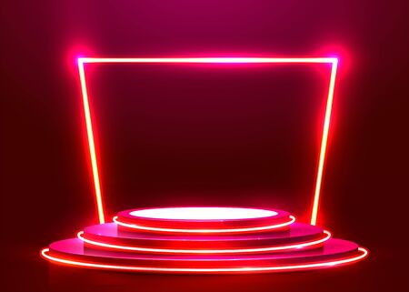 Abstract round podium illuminated with spotlight and neon. Award ceremony concept. Stage backdrop. Vector illustration Stockfoto - 133425077