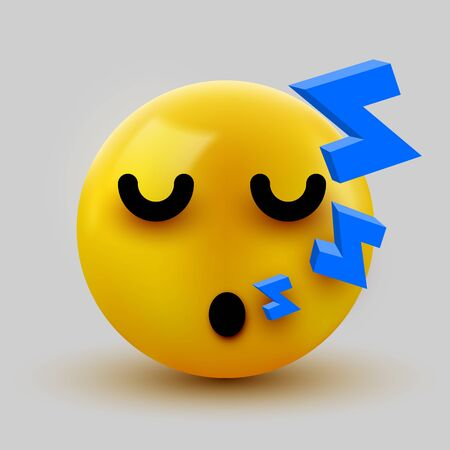 Emoji yellow Sleeping face. Cute Sleeping Emoticon. 3D illustration for chat or message. Vector illustration