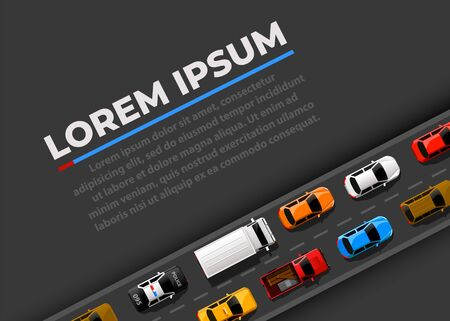 Traffic jam on the road. Road transport. Highway banner. Vector background 일러스트