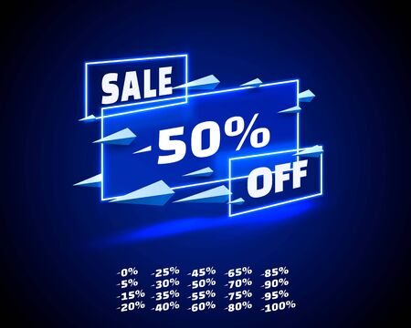 Neon banner sale off set collection, color blue. Vector illustration
