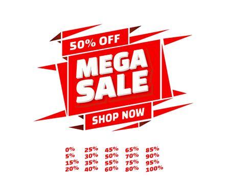 Mega sale off banner set collection, color red. Vector illustration Stockfoto - 133425135