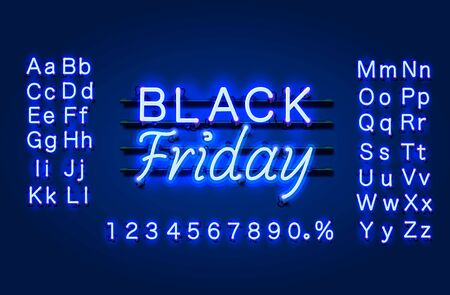 Neon Black Friday text banner. Night Sign board. Vector illustration