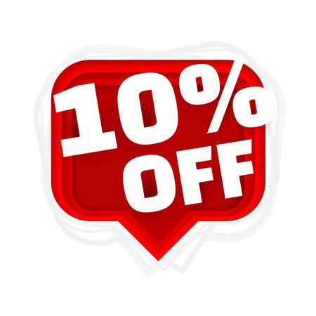 Banner 10 off with share discount percentage. Vector illustration