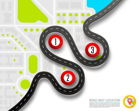 Paved path on the road way location background. Vector background
