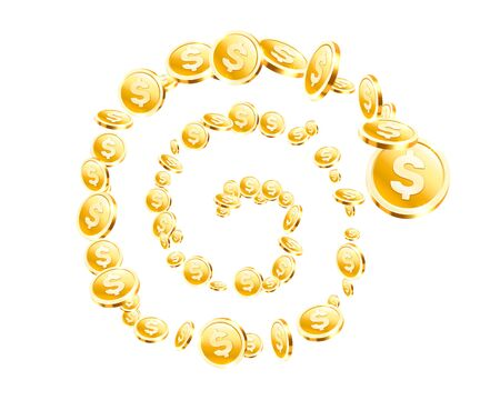 Spiral Many flying coins on the white background. Vector illustration