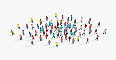Large and diverse group of people gathered together in the shape of circle. Top view. Vector illustration Archivio Fotografico - 133434812