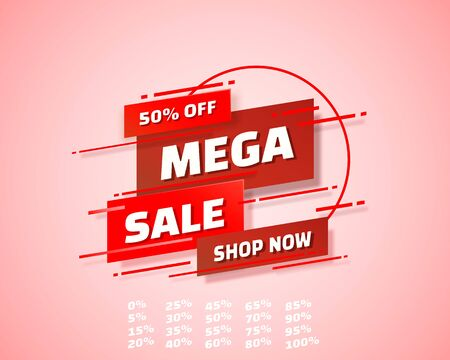 Mega sale off shop new banner set collection, color red. Vector illustration Stockfoto - 133434813
