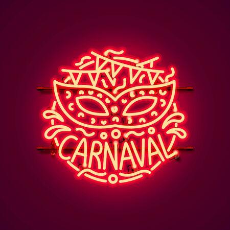 Carnaval neon sign, color red, festival label. Vector illustration 일러스트