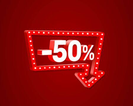 Banner 50 off with share discount percentage, neon signboard arrow. Vector illustration Ilustração