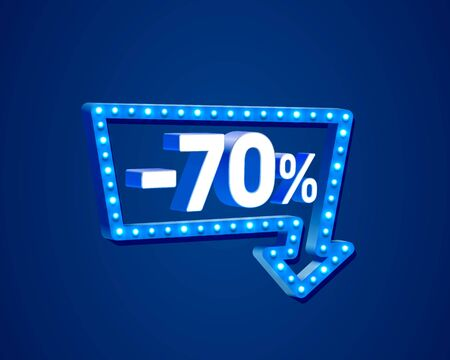 Banner 70 off with share discount percentage, neon signboard arrow. Vector illustration Ilustração