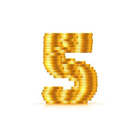 Vector font style made of golden coins. Coin numbers. Number 5. Five. Vector illustration Illusztráció