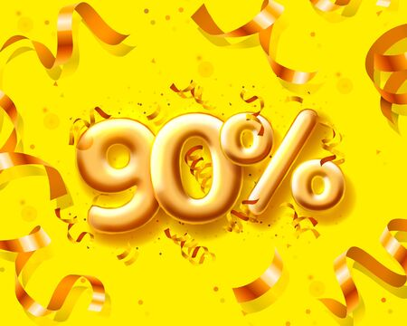 Sale 90 off ballon number on the yellow background. Vector illustration