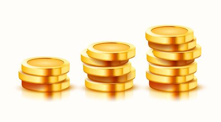 Growing stack of golden coins isolated on white background. Economics concept. Vector illustration