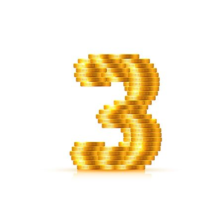 Vector font style made of golden coins. Coin numbers. Number 3. Three. Vector illustration